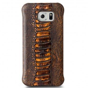 """Valódi bőr Qialino """"Lava"""" prémium védőtok Samsung Galaxy S6 készülékekhez – barna"""