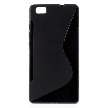 "TPU gél tok ""S-Line"" Huawei P8 Lite készülékekhez - fekete"