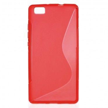 "TPU gél tok ""S-Line"" Huawei P8 Lite készülékekhez - piros"