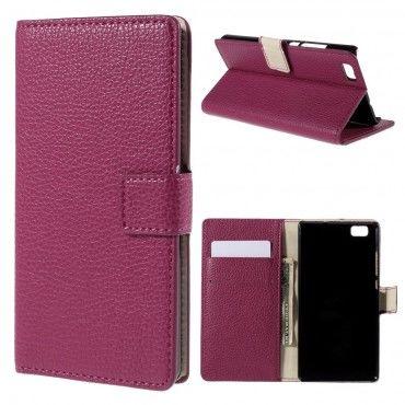 """Elegáns """"Litchi"""" műbőrtárca Huawei P8 Lite készülékekhez – rózsaszín"""