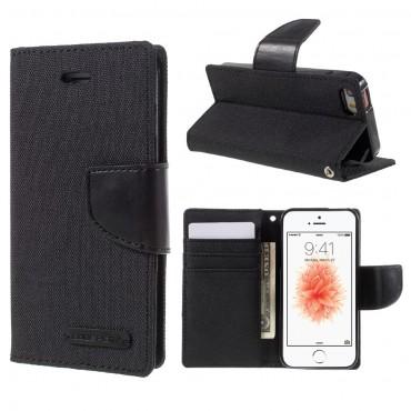Goospery Canvas Diary tárca iPhone SE / 5 / 5S készülékekhez – fekete