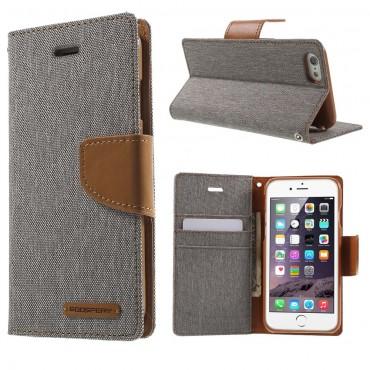 Goospery Canvas Diary tárca iPhone 6 / 6S készülékekhez – szürke