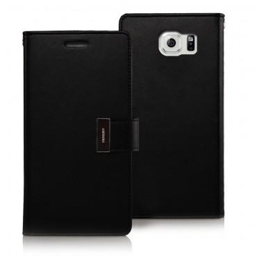 Elegáns Goospery Rich Diary tárca Samsung Galaxy S6 készülékekhez – fekete