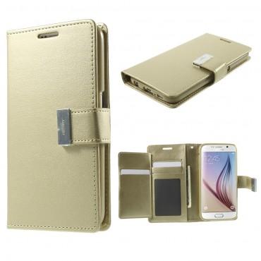 Elegáns Goospery Rich Diary tárca Samsung Galaxy S6 készülékekhez – aranyszínű