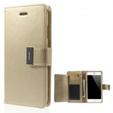 Elegáns Goospery Rich Diary tárca iPhone 6 / 6S készülékekhez – aranyszínű
