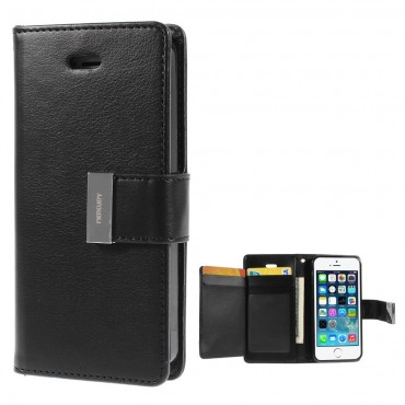 Elegáns Goospery Rich Diary tárca iPhone SE / 5 / 5S készülékekhez – fekete