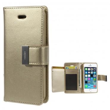 Elegáns Goospery Rich Diary tárca iPhone SE / 5 / 5S készülékekhez – aranyszínű