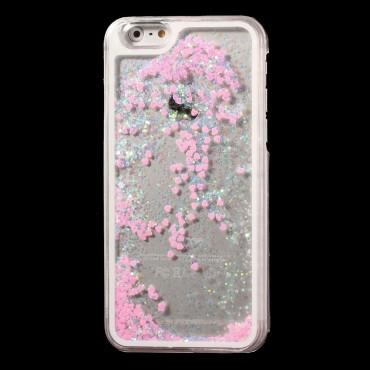 Liquid Glitter Heart divatos védőtok iPhone 6 / 6S készülékekhez – rózsaszín
