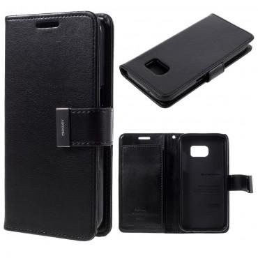 Elegáns Goospery Rich Diary tárca Samsung Galaxy S7 készülékekhez – fekete