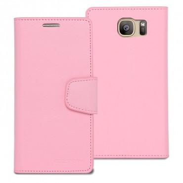 Elegáns Goospery Sonata tárca Galaxy S7 Edge készülékekhez – rózsaszín
