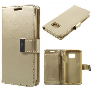 Elegáns Goospery Rich Diary tárca Samsung Galaxy S7 Edge készülékekhez – aranyszínű