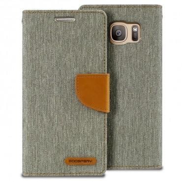Goospery Canvas Diary tárca Samsung Galaxy S7 Edge készülékekhez – szürke