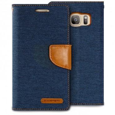Goospery Canvas Diary tárca Samsung Galaxy S7 készülékekhez – sötétkék
