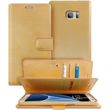 Goospery Mansoor Diary tárca Samsung Galaxy S7 Edge készülékekhez – aranyszínű