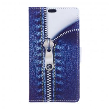"""Divatos """"Jeans Zipper"""" tárca Samsung Galaxy J7 2016 készülékekhez"""