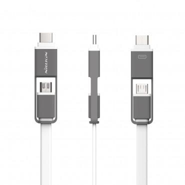 USB-C és Mikro USB lapos kábel 2in1 - fehér