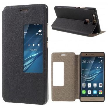 """Divatos """"Window"""" tárca Huawei P9 készülékekhez – fekete"""