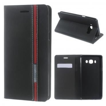 """Divatos """"Elegant Line"""" tárca Samsung Galaxy J7 2016 készülékekhez – fekete"""