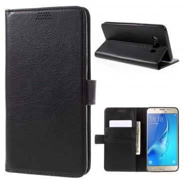 """Elegáns """"Litchi"""" tárca Samsung Galaxy J7 (2016) készülékekhez – fekete"""