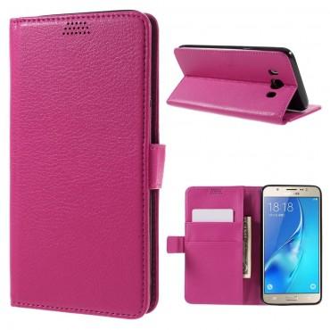 """Elegáns """"Litchi"""" tárca Samsung Galaxy J7 2016 készülékekhez – rózsaszín"""