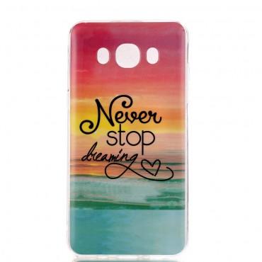 """Divatos """"Never Stop Dreaming"""" tárca Samsung Galaxy J7 2016 készülékekhez"""