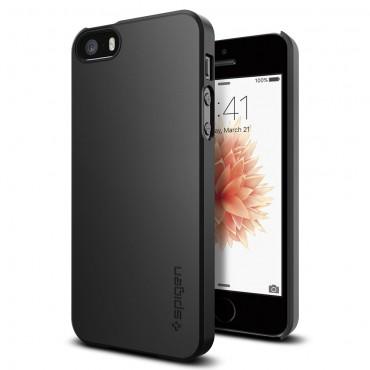 """Spigen """"Thin Fit"""" védőtok iPhone SE / 5 / 5S készülékekhez – fekete"""
