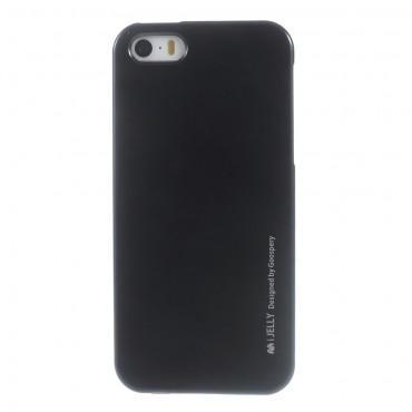 TPU gél tok Goospery iJelly Case iPhone SE / 5 / 5S készülékekhez - fekete