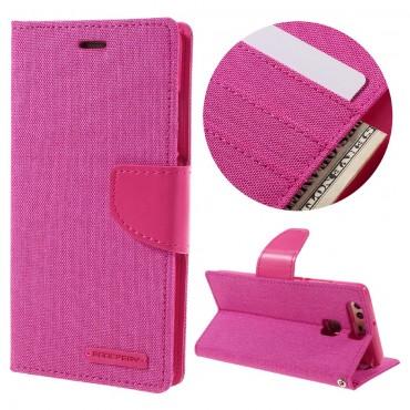 Goospery Canvas Diary tárca Huawei P9 készülékekhez – rózsaszín