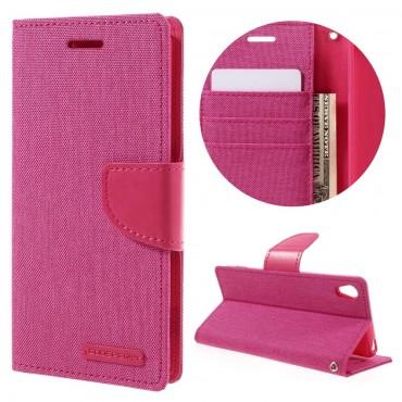 Goospery Canvas Diary tárca Sony Xperia XA készülékekhez – rózsaszín