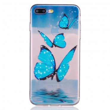 """Divatos TPU géles """"Blue Butterfly"""" védőtok iPhone 8 Plus / iPhone 7 Plus készülékekhez"""