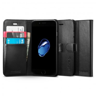 """Nyitható tok Spigen """"Wallet S"""" iPhone 8 / iPhone 7 készülékekhez - fekete"""