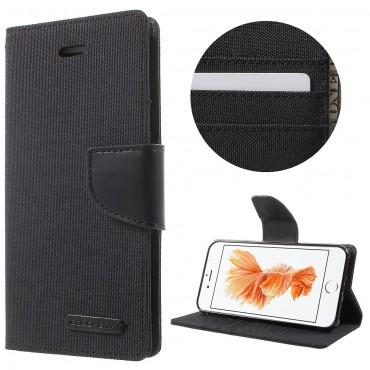 Goospery Canvas Diary tárca iPhone 8 / iPhone 7 készülékekhez – fekete