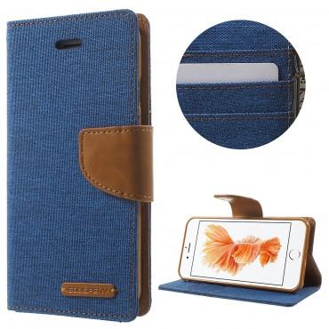 Goospery Canvas Diary tárca iPhone 8 / iPhone 7 készülékekhez – kék