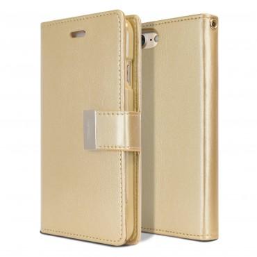 Elegáns Goospery Rich Diary tárca iPhone 8 / iPhone 7 készülékekhez – aranyszínű