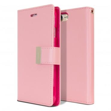 Elegáns Goospery Rich Diary tárca iPhone 8 / iPhone 7 készülékekhez – rózsaszín