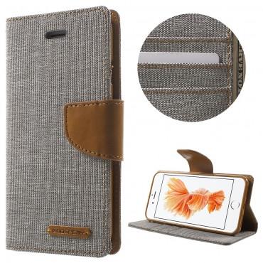 Nyitható tok Goospery Canvas Diary iPhone 8 Plus / iPhone 7 Plus készülékekhez - szürke