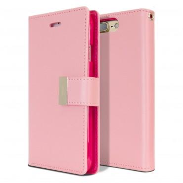 Elegáns Goospery Rich Diary tárca iPhone 8 Plus / iPhone 7 Plus készülékekhez – rózsaszín