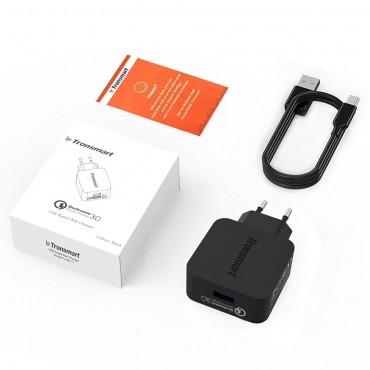Prémium Tronsmart Quick Charge 3.0 töltő, mikro USB-C kábellel