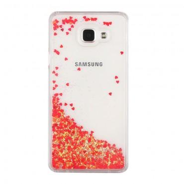Liquid Glitter divatos védőtok Samsung Galaxy A5 2016 készülékekhez – piros