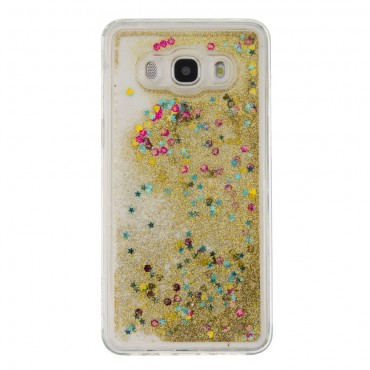 Liquid Glitter divatos védőtok Samsung Galaxy J5 2016 készülékekhez – aranyszínű