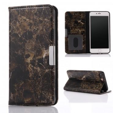 """Divatos """"Marble"""" tárca iPhone 8 Plus / iPhone 7 Plus készülékekhez – fekete"""