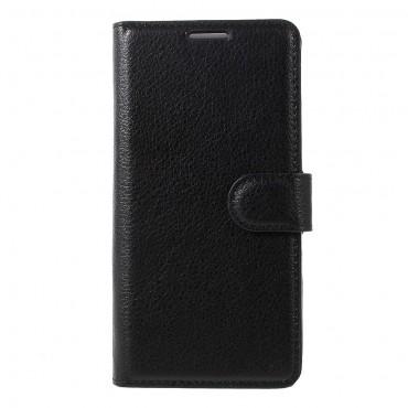 """Elegáns """"Litchi"""" műbőrtárca Huawei P10 készülékekhez – fekete"""