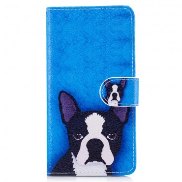 """Divatos nyitható tok """"Boston Terrier"""" Huawei P10 Lite készülékekhez"""