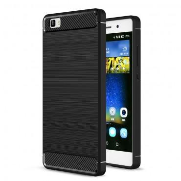 Brushed Carbon TPU géles védőtok Huawei P8 Lite készülékekhez – fekete
