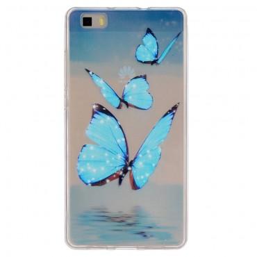 Blue Butterfly TPU géles védőtok Huawei P8 Lite készülékekhez