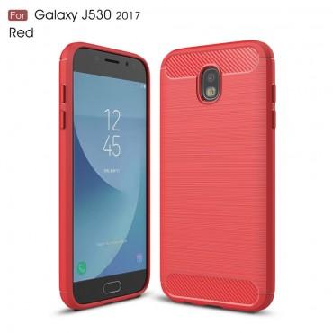 Brushed Carbon TPU géles védőtok Samsung Galaxy J5 2017 készülékekhez – piros
