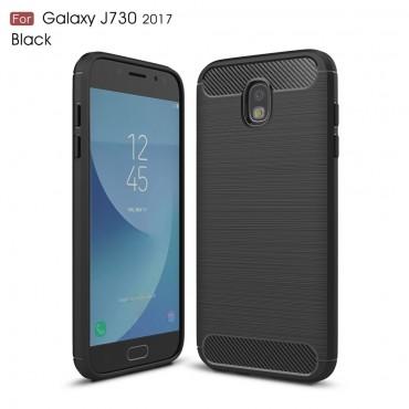 Brushed Carbon TPU géles védőtok Samsung Galaxy J7 2017 készülékekhez – fekete