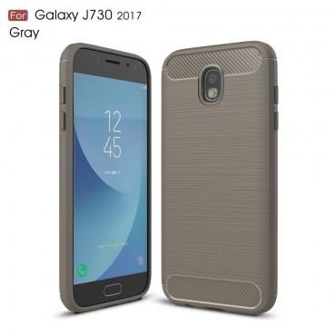 Brushed Carbon TPU géles védőtok Samsung Galaxy J7 2017 készülékekhez – szürke