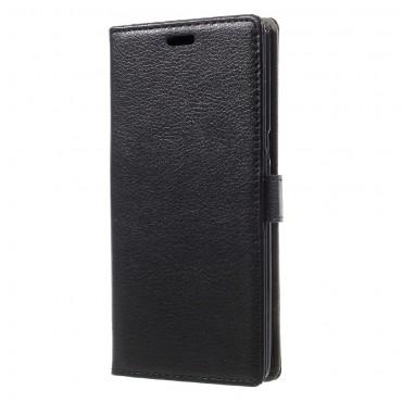 """Elegáns """"Litchi"""" műbőrtárca Samsung Galaxy Note 8 készülékekhez – fekete"""