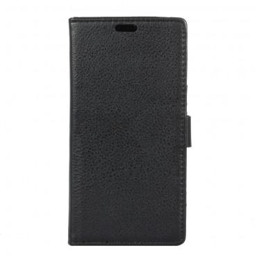 """Elegáns """"Litchi"""" tárca Huawei Y5 2017 / Y6 2017 készülékekhez – fekete"""